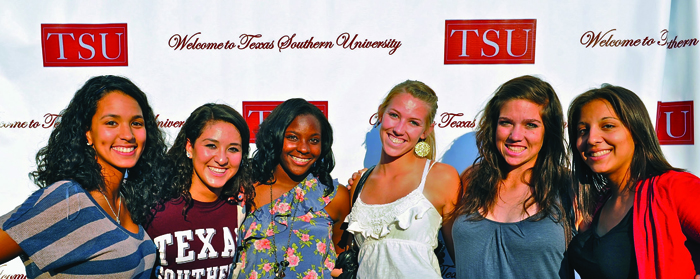 Image of students with a background represents Welcome to Texas southern University